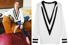 RAG & BONE Talia White Black Deep V-Neck Ribbed Tennis Cable Knit Sweater M
