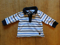 Janie and Jack Long sleeve shirt / BABY BOY'S 3-6 Months / Blue White stripe