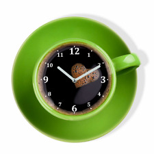 Modern Green Large Wall Clock Home Decoration Kitchen Living Room Silent Cup