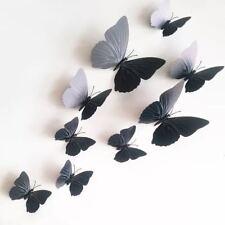 12er Set 3D Magnet Schmetterling Wandtattoo Wandaufkleber Wandsticker Schwarz