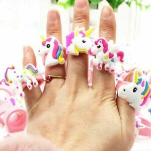 Rainbow Unicorn Rubber Ring 10pcs Birthday Party Kids Favor Baby Shower Supplies