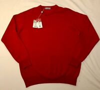LYLE & SCOTT JUMPER SWEATER RED WOOL CREW NECK SIZE L (48) RRP £90 NEW WITH TAGS