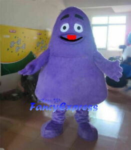 Purple Grimace Monster Mascot Costume Cartoon Cosplay Party Dress Outfit XXL