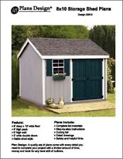 8' x 10' Gable Garden Storage Shed Project Plans -Design #10810