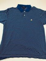 Brooks Brothers Mens Polo Shirt Blue Stripe 100% Cotton Short Sleeve Logo XL