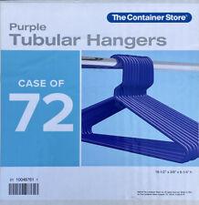 Container Store 72 Plastic Tubular Hangers Purple Adult Standard Size 16.5
