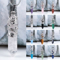 Natural Gemston Crystal Hexagonal Healing Pointed Reiki Chakra Pendant Necklace