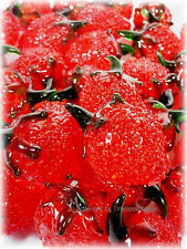 Set Lot of 30 Murano Art Hand Blown Glass Decorative Strawberry Fruit