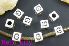 40 pcs Tibetan silver letter G cube beads A494
