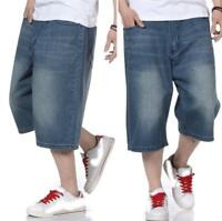 Mens Loose Baggy Denim Shorts Jeans Hip Hop Pants Cargo SkateBoarding Pants Hot