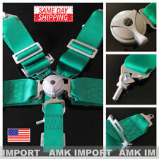 "AMK Racing Harness 5 Point 3"" Inch Metal Camlock Heavy Duty Snap Seatbelt Green"