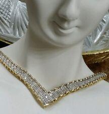 BONUS NEW 18K YELLOW GOLD STERLING SILVER 1-1 1/4 CARAT DIAMOND V NECKLACE  SET*