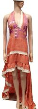 High Low Maxi Dress Halter Neck Prom Bridesmaid Party Silk Blend ORANGE 10 12 14