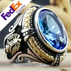 Eagle 925 Sterling Silver Aquamarine Stone Turkish Handmade Men's Ring All Sizes