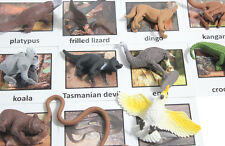 Montessori Australian Animal Match -Miniature Figurine w/ Matching Cards