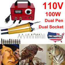 100W Electric Pyrography 2Socket+Pen Art Wood Burning Machine Tool Set Home Usa