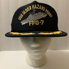 USS Oliver Hazard Perry FFG-7 Snapback Hat Cap Navy Millitary Dark Blue Trucker