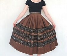 Vintage VTG 1970s 70s brown boho woven midi skirt with blue embroidered accents