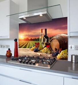 Toughened & Heat Resistant Printed Kitchen Glass Splashback - Sunset Wine