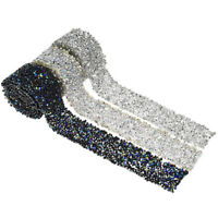 1 Yard Rhinestone Crystal Beaded Iron On Trimming Sewing for Wedding Dress Bling
