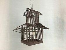 Metal Birdhouse Birdcage w/ Bird Garden Ornament Rust Colored Vintage Look 3.5""