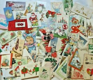 Lot 130 Beautiful Vintage Greeting Cards 1930-1960 Imperfect Craft Scrapbooking