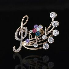 Wedding Crystal Jewelry c Ca Women Delicate Musical Note Blossom Brooches