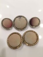 CHANEL BUTTONS 5pcs Beige Fabric Gold Silver Tone CC Logo Sewing Authentic