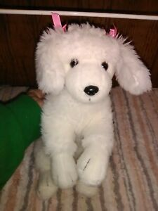 """White poodle dog, plush, no tags, 14"""", clean, washed easy, darling & loveable"""