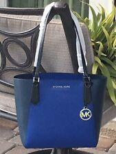 MICHAEL KORS KIMBERLY SMALL BONDED ZIP TOTE SHOULDER BAG $328 BLACK BLUE LEATHER