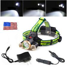 36000LM Headlamp 3*T6 LED Stream light Headlight Bright Light +1*AC/CAR Charger