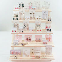 Earring Stand 5 Tier Jewelry Holder Organizer Wooden Jewelry Display Rack