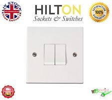 HILTON White Plastic 2Gang 2Way Light Switch 10Amp ***Best Quality***