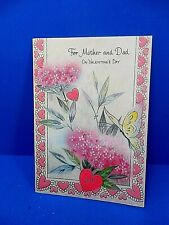 """Valentine Card Vintage Parchment Unused """"To Our Mother And Dad"""" Card - Free Ship"""