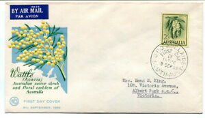 """Australia 1959 new definitive design 2/3d. """"Wattle"""" illustrated first day cover"""