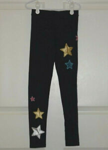 Girl's Crewcuts Navy Blue Leggings Velour and Satin Multicolor Star Appliques 8