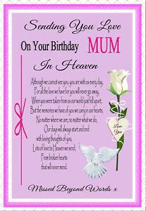 MUM GRAVESIDE MEMORIAL BIRTHDAY IN MEMORY REMEMBERANCE KEEPSAKE CARD &  HOLDER