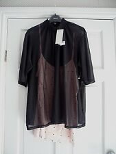 NEXT  - Gorgeous  black victorian ruffle neckline mesh / cami top size 12 bnwts