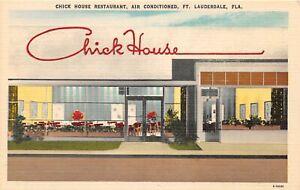 H53/ Ft Lauderdale Florida Postcard Linen Chick House Restaurant Famous