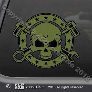 Mechanic Skull Crossbones Decal  mechanics tool box decal gearhead skull sticker