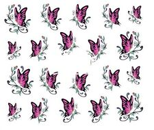 Nail Art Decals Transfers Stickers Purple Butterflies (A-360)