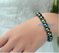 "7.5-8"" Charming AAA 10-11mm Real natural tahitian black pearl bracelet 14k Gold"