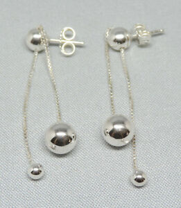 Authentic Pandora String of Beads Dangle Earrings Silver ALE 925 297535