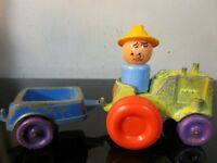 Vintage 1967 Tootsie Toy Little People Farmer tractor cart ~