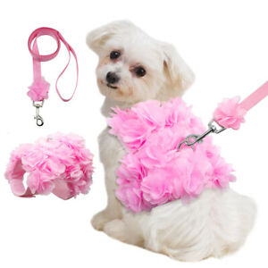 Pink Flowers Small Dog Vest Harness &Lead for Girl Dogs Pet Puppy Cat Yorkie Pug