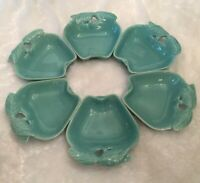 Vintage Hoenig Of California Pottery Turquoise Apple Dishes Bowls Set Of 6 #734