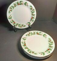 Christmas China Pearl Noel Salad Plate Set of 4 Holly & Berries Black Backstamp