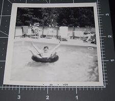 Chubby Man Boy in POOL Inner Tube FLoat Legs Spread Funny Vintage Snapshot PHOTO