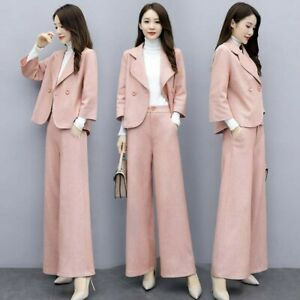 Womens Blazer Tops Coat Office Formal Wide Leg Pants Fashion Slim 2Pcs Suit Chic