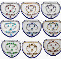 Set 4 PCS Women 18K Gold Plated Necklace Bracelet Earrings Ring Wedding Jewelry